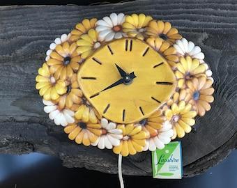 1970s Floral Ceramic Clock