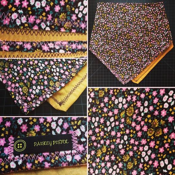 READY TO SHIP-Retro Handmade Bandana-Floral Corduroy/Cotton Snapback Bandana-Inspired By Retro/Vintage Nostalgia