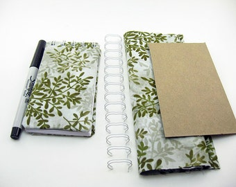 Mini Blank Notebook iPhone size, home living, books, green leaves fabric, Journals & Notepads