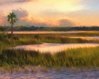 Large Art Sunset, Marsh landscape, Coastal Art Print, Beach House, Coastal Decor, Marsh Painting, Orange Painting, Available on Canvas