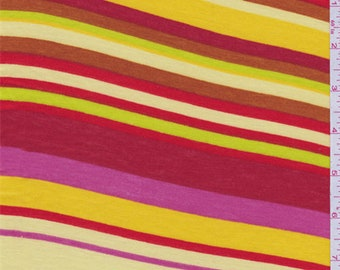 Yellow Multi Color Stripe Jersey Knit, Fabric By The Yard