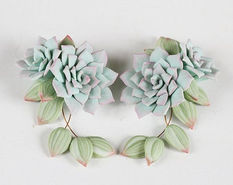 Mint green Succulent Earrings. Pale green succulent plants jewelry. Polymer clay jewelry. Miniature Plant Earrings Wedding Succulent Jewelry