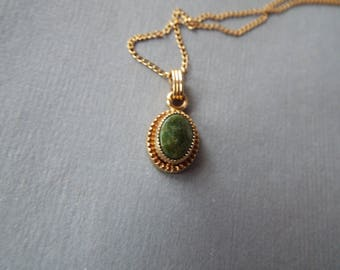 vintage 1/20 12K GF gold filled jade pendant necklace 16""