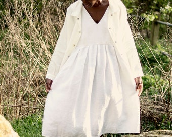 100% Linen White Pinafore Dress, hand made in London, sustainable, artisan, fashion