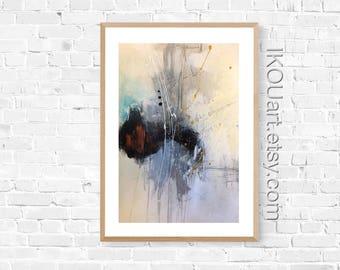 "Original abstract painting on paper, original art, Ikouart, Isabelle Couture artist, wall decor, 12 ""x 18"", wall art, raw art, gift"