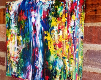 Abstract Waterfall on Gallery Canvas with Curved Sides.