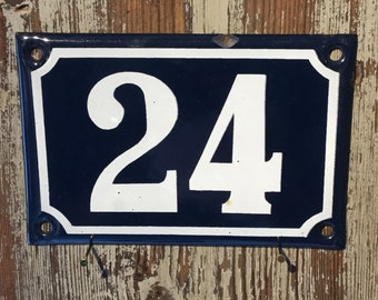 Vintage French enamel house number - number 24. Traditional blue and white