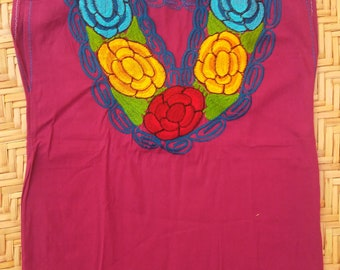 Mexican Embroidered Blouse Mexican Blouse Mexican Top Handmade Blouse Peasant Blouse Sleeveless Purple