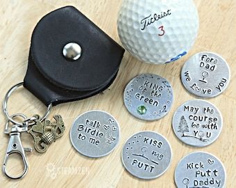 Golf Marker with Leather case Keychain and Swivel Clasp - Father's Day Gifts - Grandpa and Dad Gift - Boyfriend Gift - Golfer Gift - Unisex