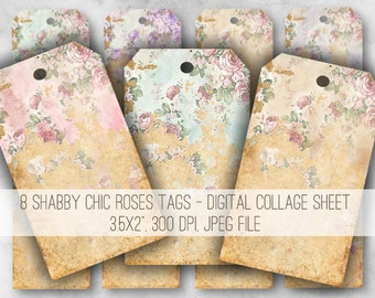 Shabby Chic Roses Tags Digital Collage Sheet Download - 970 - Digital Paper - Instant Download Printables