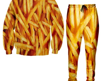 French Fries All Over Print Sweater and Jogger Pants, Full Print Sweater, Funny Sweater, Humorous Sweater, all over print clothes