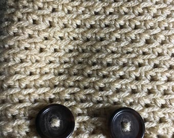Beige button infinity cowl
