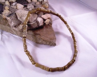 Beige Cats Eye Bamboo Beads