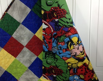 Avengers boys quilt - checked lap throw - Avenger blanket - baby boy crib quilt - Avenger toddler quilt  - security blanket - handmade quilt