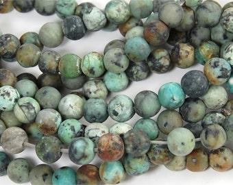 Matte African Turquoise Jasper 6mm round beads -15
