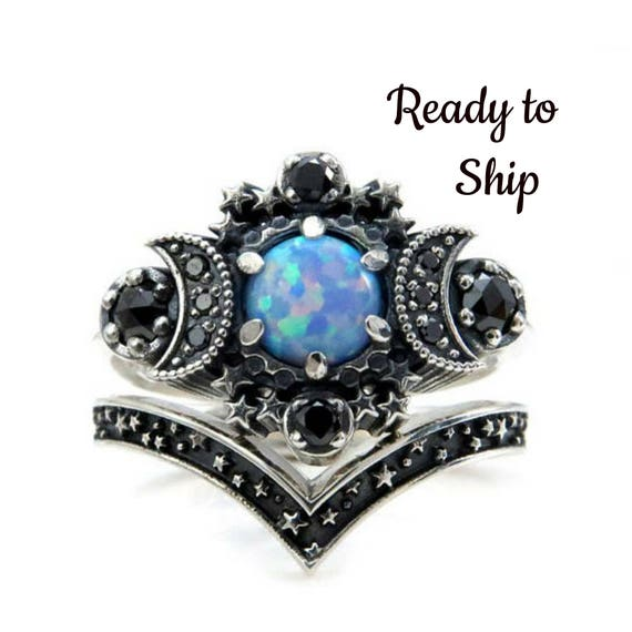 Ready to Ship Size 6 - 8 - Cosmos Moon Ring - Lab Blue Grey Opal with Black Diamonds