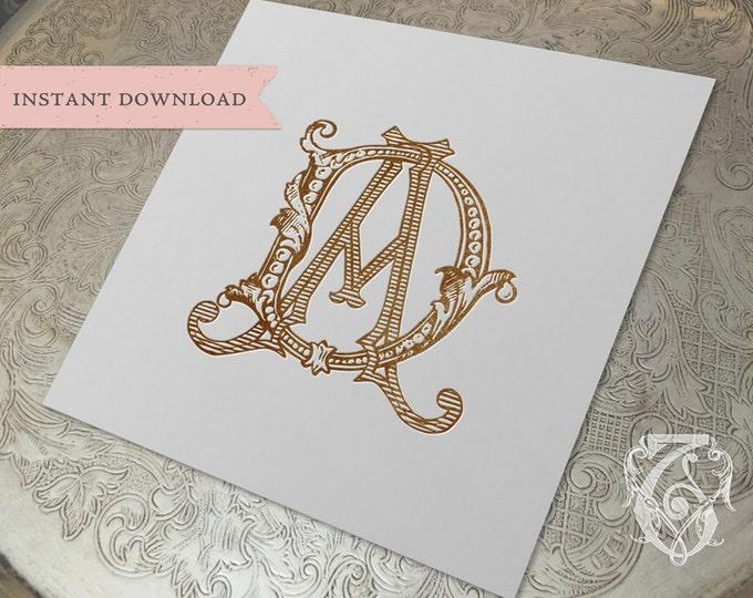 Vintage Wedding Monogram DA AD Digital Download D A