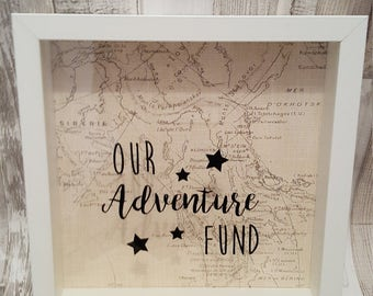 Our Adventure Fund, saving frame, money box, piggy bank, travel saving, holiday saving, honeymoon fund, Bucket list, wedding gift, fathers