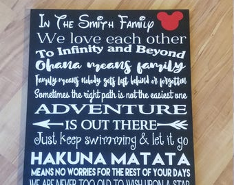 We Do Disney. Disney Sign.  In This House We Do Disney. Personalized Disney Sign. Disney Quotes From Your Favorite Disney Movies. Great Gift