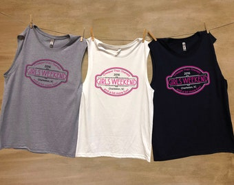 Girls Weekend Cheaper Than Therapy Muscle Tanks Bachelorette Party Shirts