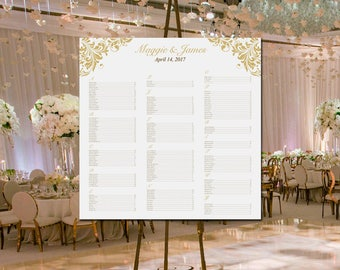 """Gold Seating Chart Template Wedding Seating Plan Printable Seating Chart Seating Template Printable Table Plan, DIY Wedding Seating """"Maggie"""""""