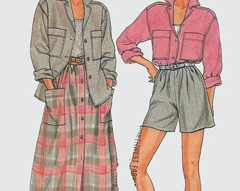 ON SALE Vintage 1980s Shirt, Dirndl Skirt & Shorts Sewing Pattern Butterick 3301 80s Sewing Pattern Size 14-18 Bust 36-40 UNCUT