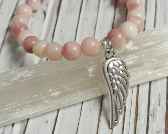 Natural Pink Chrysoprase Stone Bracelet, Angel Wing Charm, Stackable, Stretch Bracelet, Religious, Natural Stone