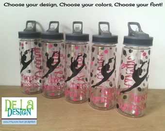 Personalized drinkware, Cheer, dance, gymnastics, ice skating or other sport, name, Available in sport bottle, skinny, kiddie & XL Tumbler