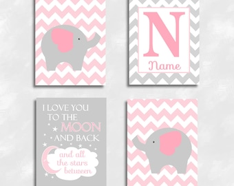 Canvas Baby Girl Nursery Art Pink Gray Elephant Decor I Love You To The Moon And Back Personalized Name Baby Nursery Decor Canvas Prints