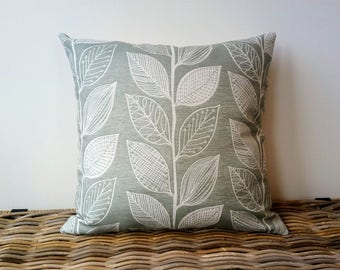 sage green pillow cover - leaves pillow - eucalyptus color green cushion - eucalyptus color leaves pillow - pale green cushion cover
