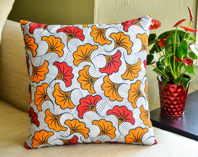 White Festival // Ankara Throw Pillow Cover