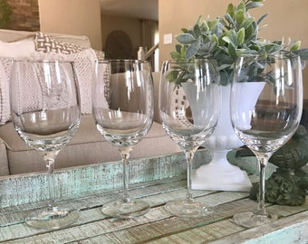 Set of Four Lenox Crystal Water Goblets / Large Wine Glass / Iced Tea Glass Solitaire Platinum Pattern Wedding TYCAALAK