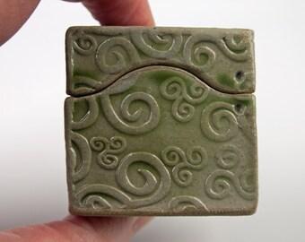 Handmade small ceramic box,light olive green with curly stamp, ring box, stoneware box, slab built