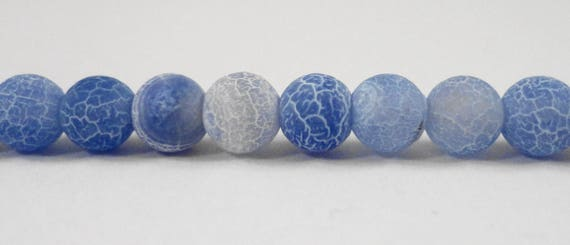"""14"""" Strand Blue Agate Beads, 6mm Round Frosted Agate Stone Beads, Periwinkle Blue Agate Gemstone Beads on a Full 14"""" Strand with 64 Beads"""