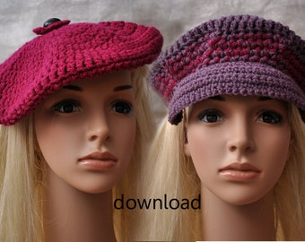 Hat  Crochet Pattern for a Beret and a Baker Boy Hat  Instant PDF Download