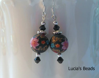 NEW Gorgeous  Garden Lily on Black Frost 12 MM Japanese Tensha Bead Earrings