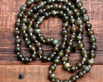 """34"""" Hand knotted labradorite necklace"""