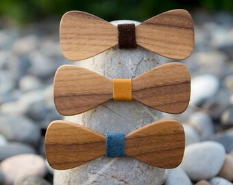 Walnut Wooden Bow Tie - Traditional (3 leather color options)