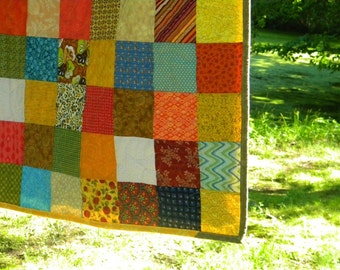 Quilts, handmade Patchwork bed Quilt, Queen Size--93X93--Warm Earthtone,tangerine, aqua, cotton bedding, with 2 matching pillows shams