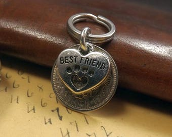 1963 Lucky British Sixpence Pet Best Friend Collar Charm Dog Tag