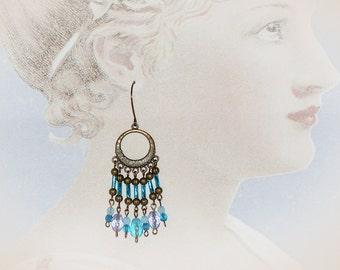 Bohemian Blue Gypsy Earrings. Extra Long Chandelier Earrings. Boho Beaded Jewelry
