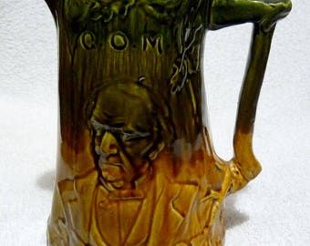 An Antique Victorian Majolica Gladstone G.O.M. Jug / Pitcher