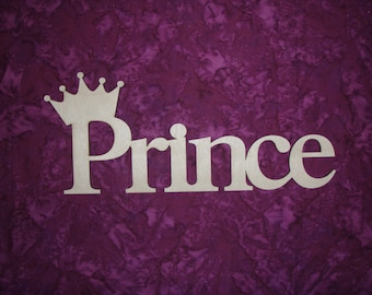 "Prince With Crown Word Cut Out Unfinished Wood  Connected Wooden Letters 5"" X 12"""
