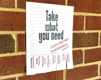 Inspirational Tear Away Poster- Take What You Need with Bible Verses