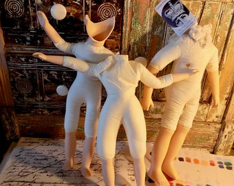DOLLS CREEPY CRAFTING 3 Headless Dollys dolly bodies Lot no.13 of lovely dolls altered art found objects voodoo dolls Make Art Create studio