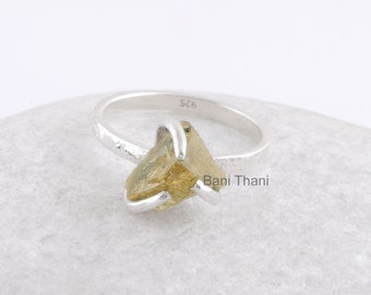 Hammered Ring, Yellow Citrine 6x9mm Raw Gemstone Stackable Ring 925 Sterling Silver Ring - #1021