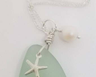 Beautiful Sea Foam seaglass with a Sterling silver starfish on a Sterling silver chain.