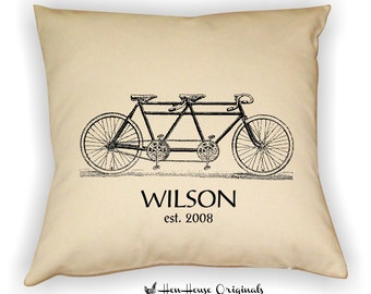 Family Name Bicycle Built for Two Pillow Cover