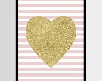Heart print, Nursery art, Kids room decor, Baby girl room, Gold glitter, Pink, Printable art, Digital poster Instant Download 8x10, 10x8