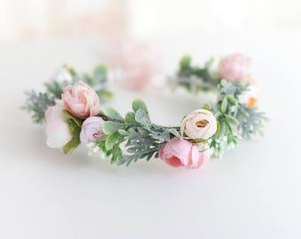 Pink Flower Halo, Floral Headband, Pink Flower Girl, Flower Girl Flower Crown, Toddler Flower Crown, Pink Flower Crown, Toddler Flower Crown